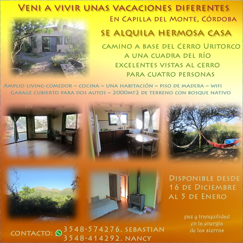 Alquiler de casa para vacaciones en Capilla del Monte, Córdoba, Argentina