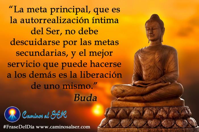 La meta principal, que es la autorrealización íntima del Ser, no debe descuidarse por las metas secundarias, y el mejor servicio que puede hacerse a los demás es la liberación de uno mismo. Buda