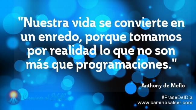 """""""Nuestra vida se convierte en un enredo, porque tomamos por realidad lo que no son más que programaciones."""" Anthony de Mello"""
