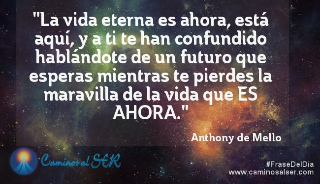 """""""La vida eterna es ahora, está aquí, y a ti te han confundido hablándote de un futuro que esperas mientras te pierdes la maravilla de la vida que ES AHORA."""" Anthony de Mello"""