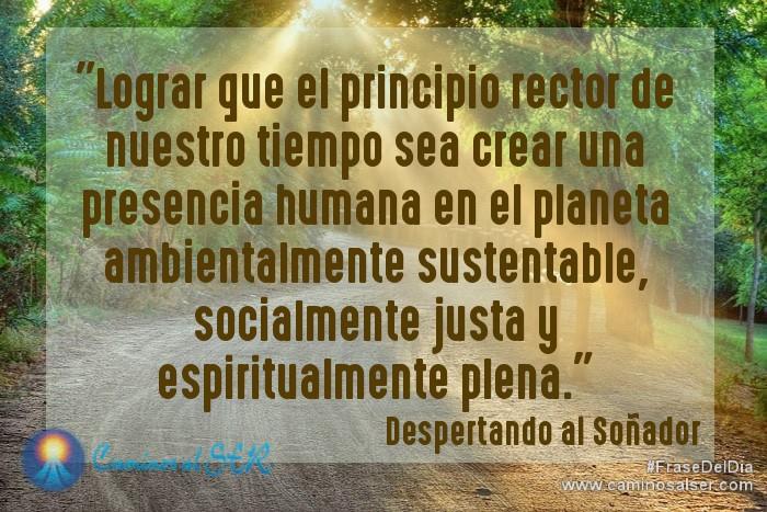 Lograr que el principio rector de nuestro tiempo sea crear una presencia humana en el planeta ambientalmente sustentable, socialmente justa y espiritualmente plena. Despertando al Soñador