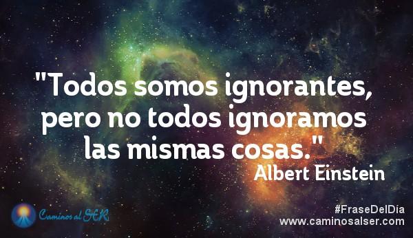 Todos somos ignorantes, pero no todos ignoramos las mismas cosas. Albert Einstein