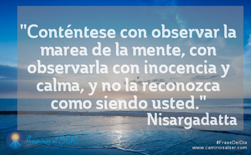 Conténtese con observar la marea de la mente, con observarla con inocencia y calma, y no la reconozca como siendo usted. Nisargadatta