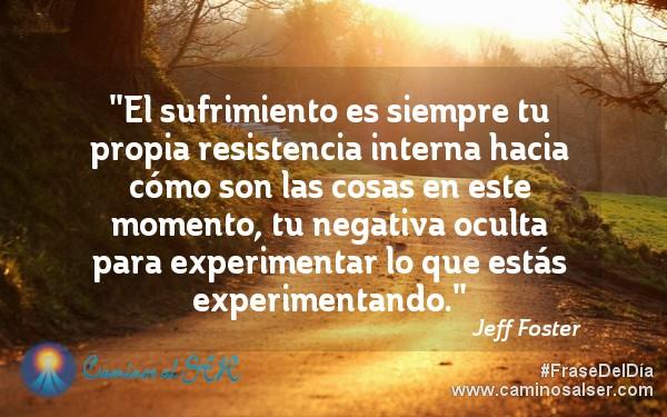 El sufrimiento es siempre tu propia resistencia interna hacia cómo son las cosas en este momento, tu negativa oculta para experimentar lo que estás experimentando. Jeff Foster