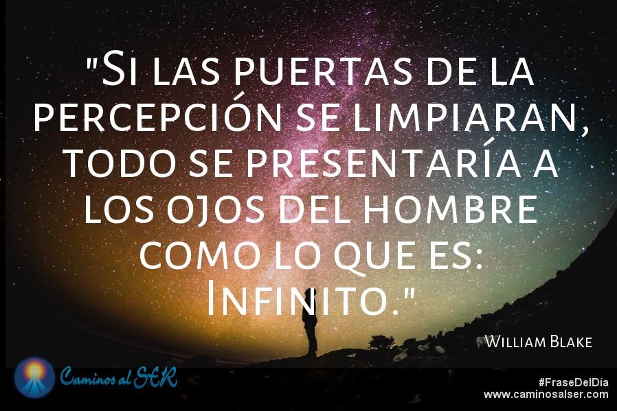 Si las puertas de la percepción se limpiaran, todo se presentaría a los ojos del hombre como lo que es: infinito. William Blake