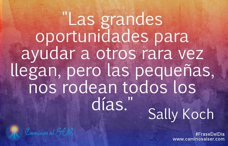 Las grandes oportunidades para ayudar a otros rara vez llegan, pero las pequeñas, nos rodean todos los días. Sally Koch