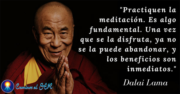 'Practiquen la meditación. Es algo fundamental. Una vez que se la disfruta, ya no se la puede abandonar, y los beneficios son inmediatos.' Dalai Lama