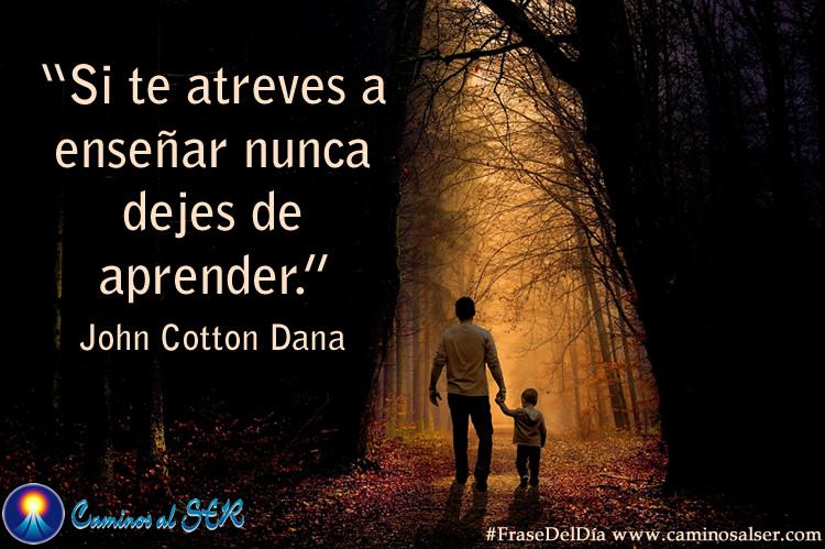 'Si te atreves a enseñar nunca dejes de aprender.' John Cotton Dana