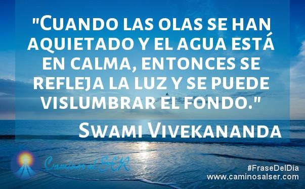 Cuando las olas se han aquietado y el agua está en calma, entonces se refleja la luz y se puede vislumbrar el fondo. Swami Vivekananda