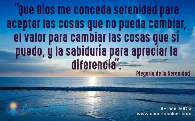 """""""Que Dios me conceda serenidad para aceptar las cosas que no pueda cambiar, el valor para cambiar las cosas que sí puedo, y la sabiduría para apreciar la diferencia"""". Plegaria de la Serenidad"""