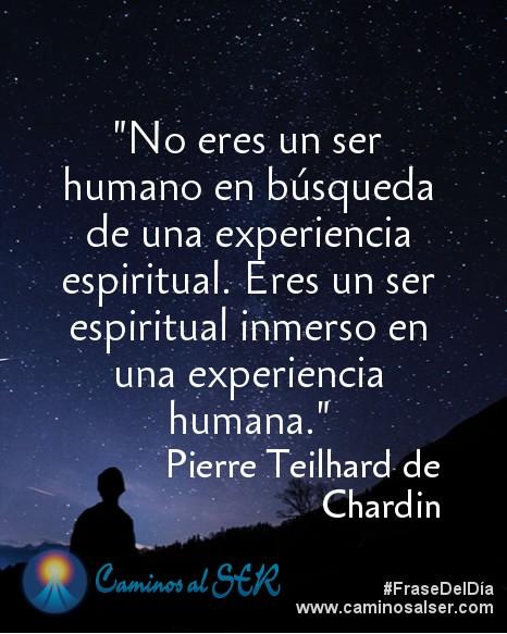 No eres un ser humano en búsqueda de una experiencia espiritual. Eres un ser espiritual inmerso en una experiencia humana. Pierre Teilhard de Chardin