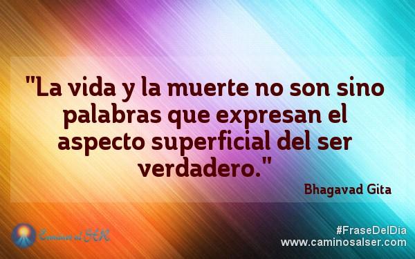 """""""La vida y la muerte no son sino palabras que expresan el aspecto superficial del ser verdadero."""" Bhagavad Gita"""