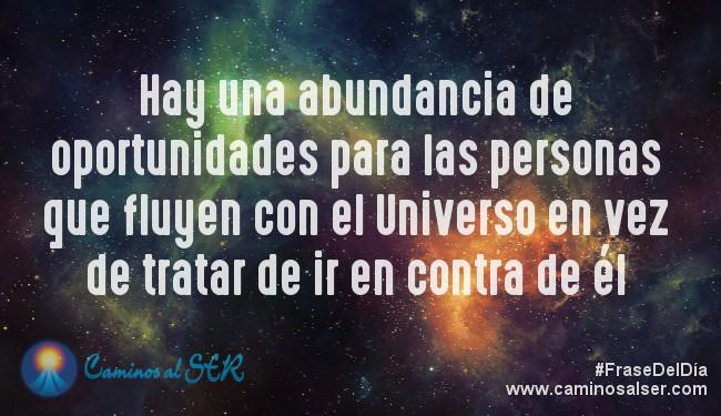 Hay una abundancia de oportunidades para las personas que fluyen con el Universo en vez de tratar de ir en contra de él. Caminos al Ser